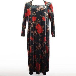 VINTAGE 90s Kathie Lee Velour Black Floral Dress